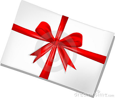 White envelope with red ribbon