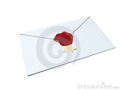 White envelope sealed with red wax