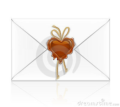 White envelope sealed by wax stamp as a heart