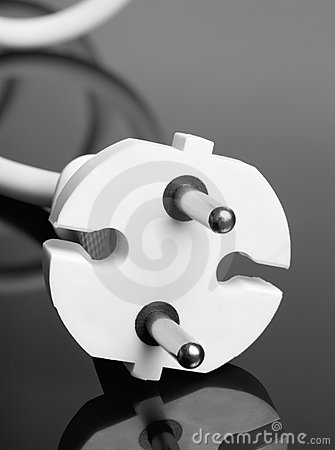 White europe standard power plug over black