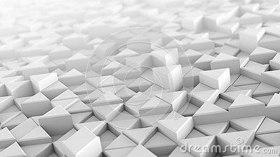 White extruded triangles abstract 3D render Cartoon Illustration