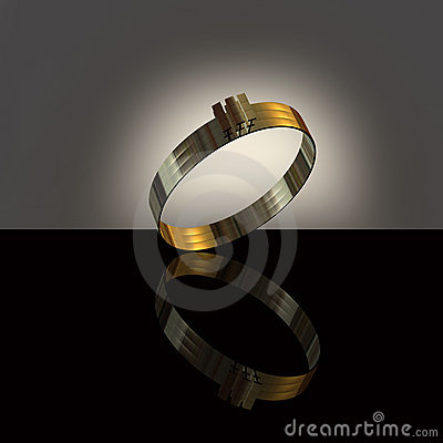 White för guldcirkel 3d