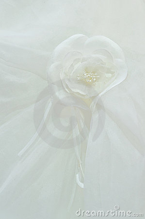 White fabric roses on a
