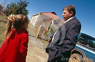 A white family outside a church in South Africa Editorial Stock Image