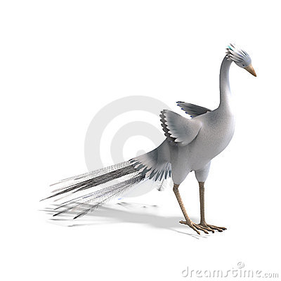 White Fantasy Bird With Beautiful Feathers. 3D Stock Images ...