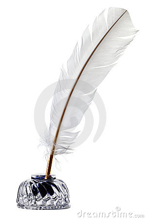 Free White Feather Quill Pen And Inkwell Isolated Royalty Free Stock Image - 17679436
