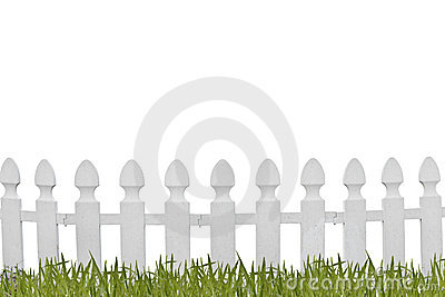 White fence and grass
