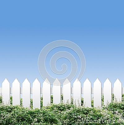 White fences and blue sky