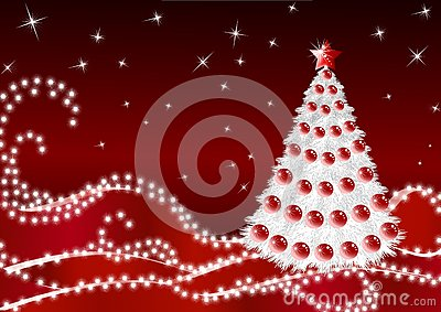 White Firtree on claret background_14