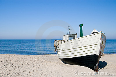 White fishing boat.