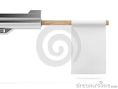 White flag from a gun