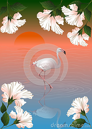 White flamingo and flowers