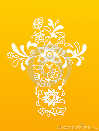 Free White Floral Christianity Cross On Yellow Background. Stock Photos - 73970223