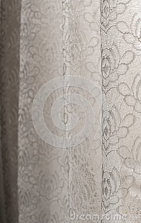 Free White Floral Lace Curtains - Selective Focus - Background, Abstract Royalty Free Stock Images - 106932599