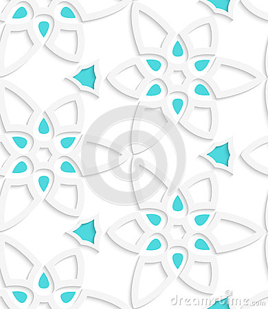 White floristic swirl lace seamless pattern