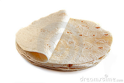 White flour tortillas isolated on white