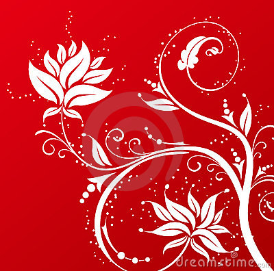 Free White Flower Pattern In Red Background Stock Image - 13434121