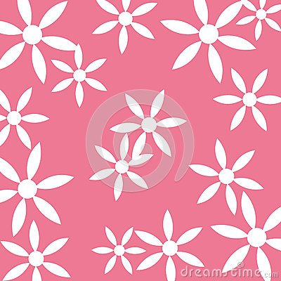White flower pattern pink background