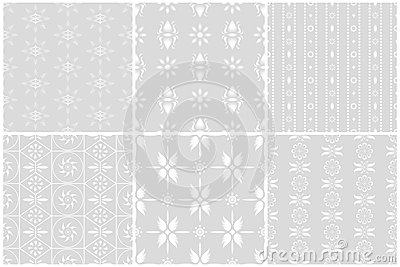 White flower seamless patterns set 1