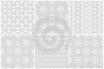 White flower seamless patterns set 2