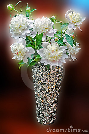White flowers in decorative vase