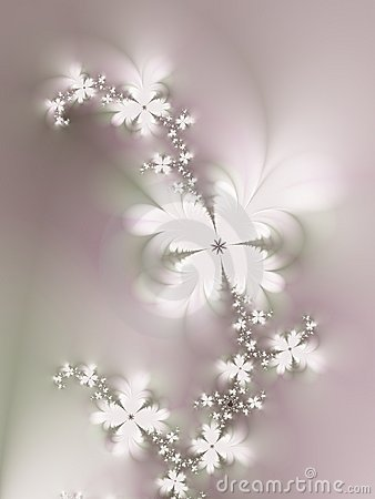 Free White Flowers On Vine Fractal Stock Images - 2061564