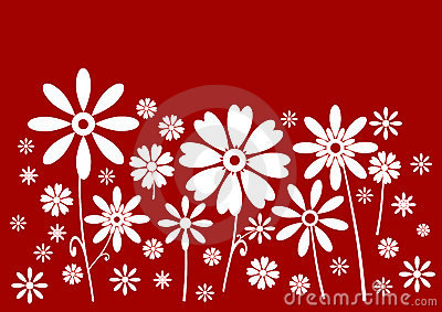 White flowers red banner