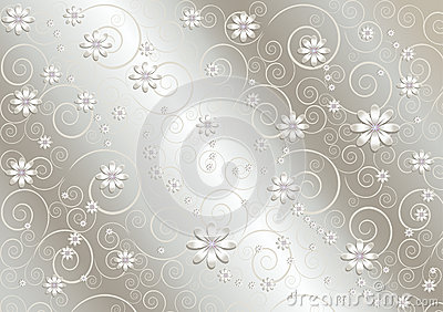 White flowers and twisted lines on  satin gray background
