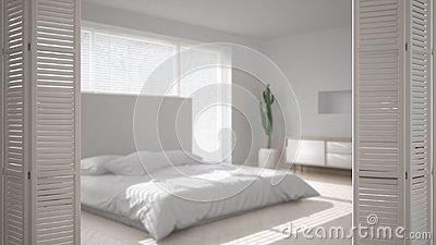 White folding door opening on modern scandinavian minimalist bedroom, white interior design, architect designer concept, blur back Stock Photo