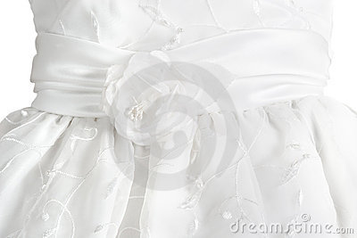 White formal dress detail