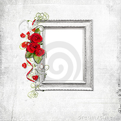 White frame with red roses