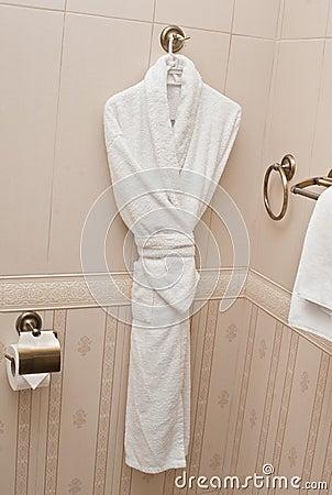 Fresh bath robe hang bathroom wall white shower gown small towels hang - White Fresh Bath Robe Hang On Bathroom Wall White Shower