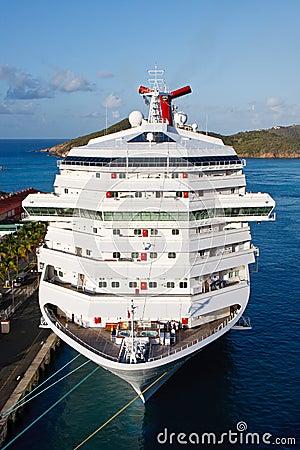 White Fun Ship at Dock Vertical