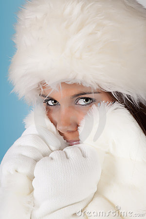 White fur winter hat