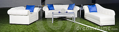 White furniture with blue accents
