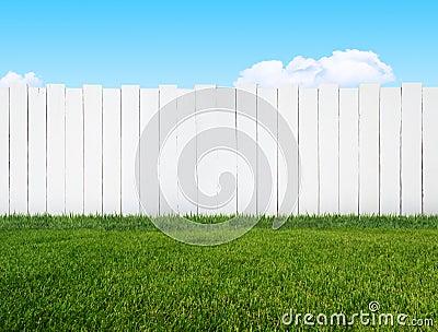 White garden fence Stock Photo