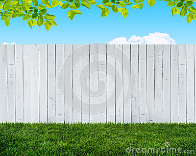 White garden fence Stock Photo