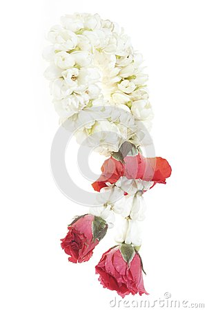 White garland festoon for worship buddha in Thaila