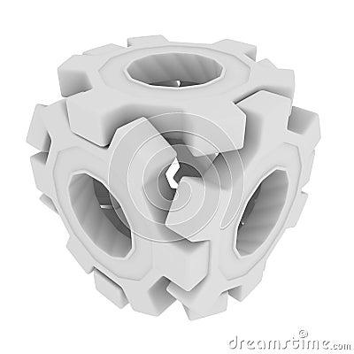 White Gear Cube