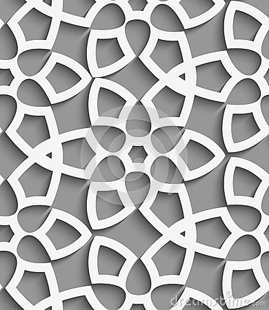 White  geometrical floristic net on gray seamless pattern