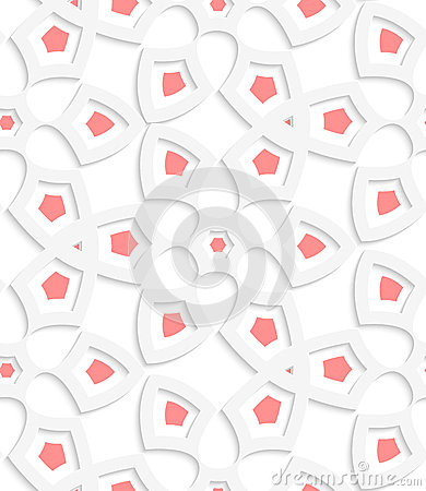 White  geometrical floristic net seamless pattern