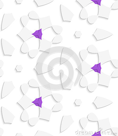 White  geometrical floristic with purple seamless pattern