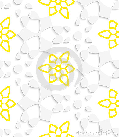 White  geometrical floristic with yellow layering seamless patte
