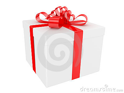 White gift box with big red holiday bow