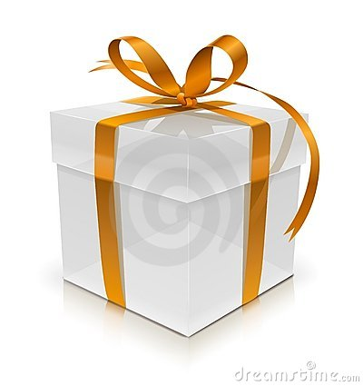 White gift box with bow