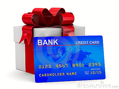White gift box with credit card