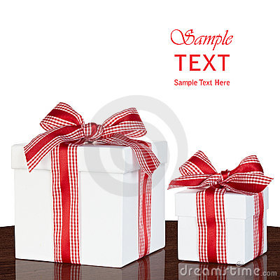 White Gift Box Present Red & White Gingham Checked Ribbon