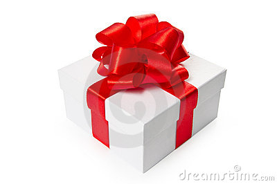 White gift box with red satin bow and ribbon