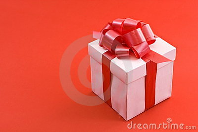 White Gift Box with Red Satin Ribbon Bow