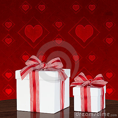 White Gift Box With Red & White Gingham Ribbon